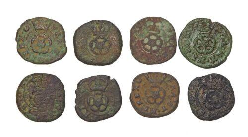 ENGLAND. Charles I, Rose Farthing, 1625-1642, Lot Of 8 - $26.00