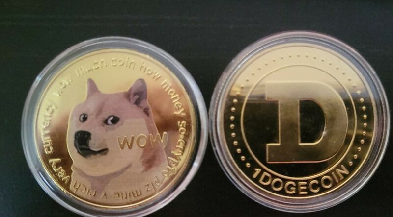 Dogecoin crypto miner collectible Gold Commemorative Doge Coin bitcoin  seller