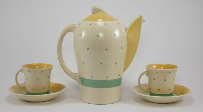 Susie Cooper Kestrel Style Teapot & 2 Demitasse Cups & Saucers Tyrol Pattern