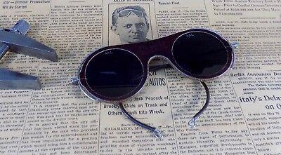 Vintage Oxweld Welding Safety Glasses Dark Green Tint Unusual Steampunk
