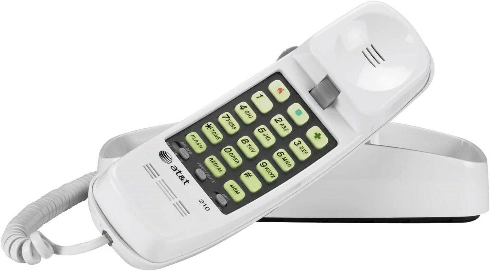 AT&T 210 Basic Trimline Corded Phone, No AC Power Required,