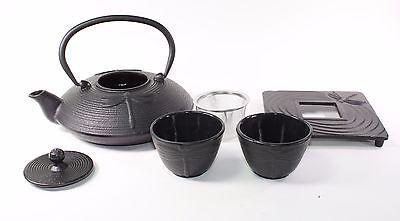 - 24 fl oz Black Dragonfly Japanese Cast Iron Teapot Tetsubin Infuser Tea Set