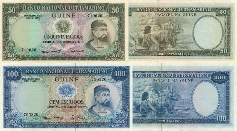 Portuguese Guinea 2 Note Set: 50 & 100 Escudos (17.12.1971) - p44a/p45 UNC