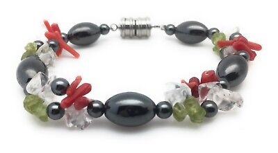 Magnetic Hematite Bead Bracelet Healing Therapy Natural Stone Clasp Multi Color