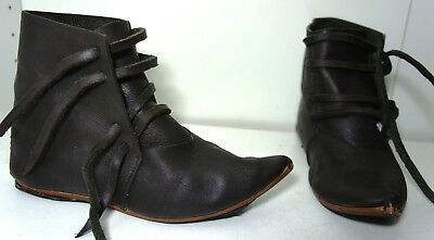 Black Leather Boots Medieval renaissance Elf viking pirate Movie Prop womes SZ 6 (Black Elf Boots)