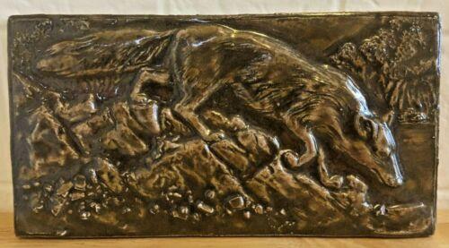 "Vintage Bantam Tileworks Large 5.5"" x 10.5"" Art Pottery Coyote Tile CT, USA Fox"
