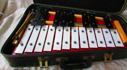 "Vintage Rhythm Band ( Japan ) 20 Note 20"" Long Wood / Metal Xylophone & Case"