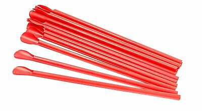 Red Spoon Straws Box Of 300 For Shaved Ice Snow Cones - Unwrapped
