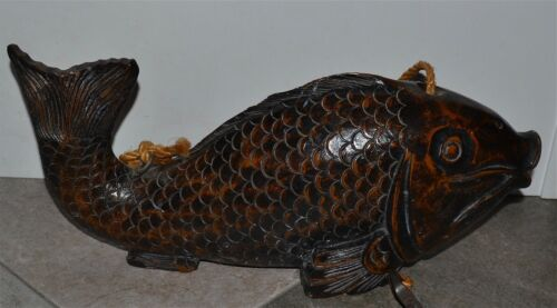 Large Antique Meiji Japanese Carved Wood Fish Kettle? Hook Cord AS IS