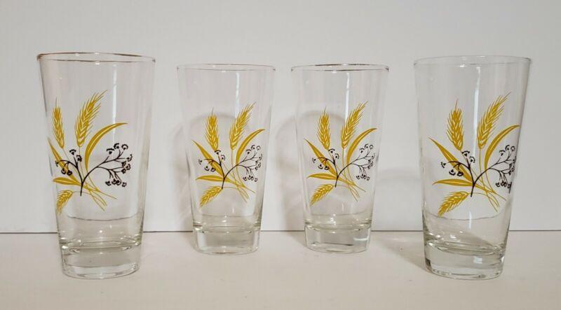 4 Vtg Yellow & Brown Wheat Gold Rim Glass Tumbler Autumn Gold by Century Service