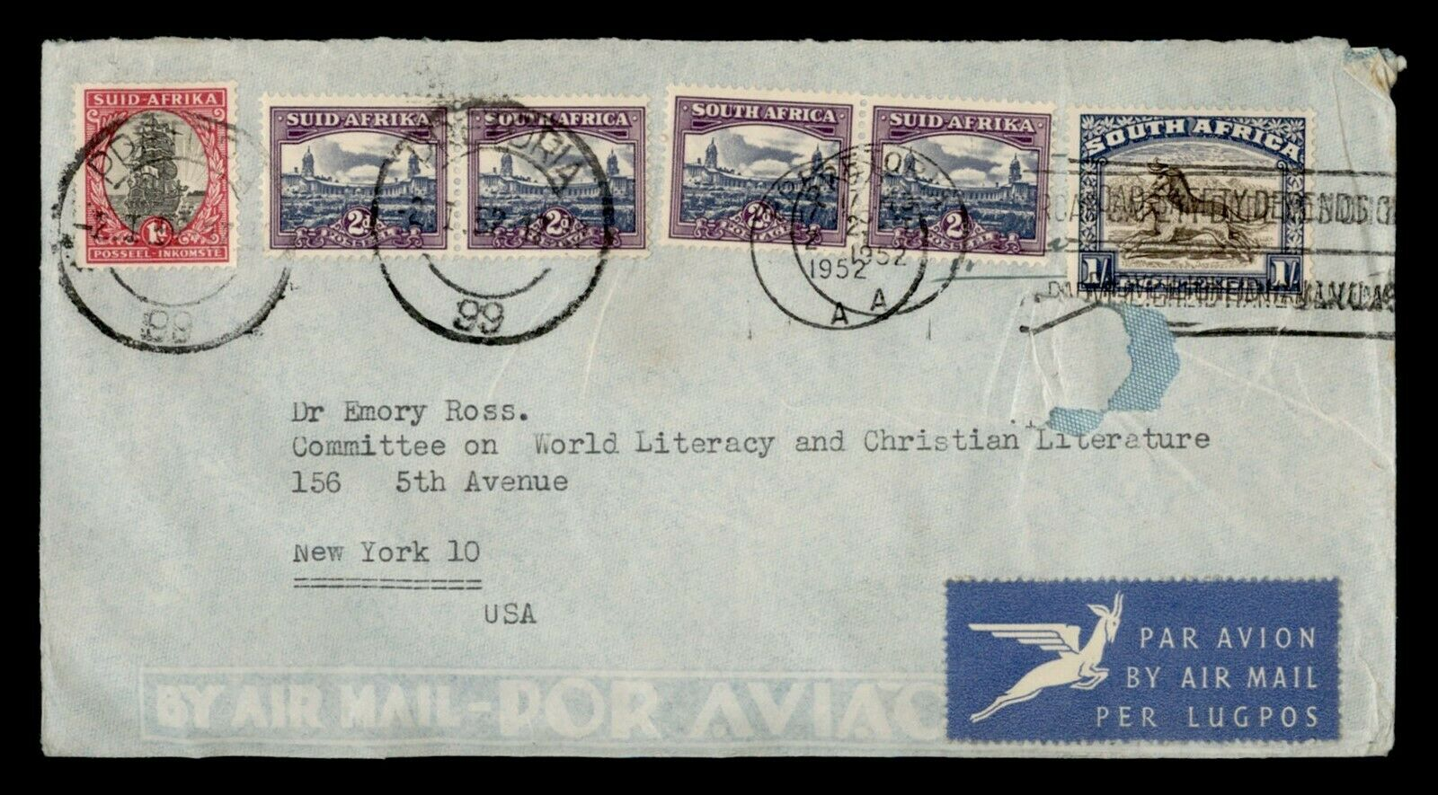 DR WHO 1952 SOUTH AFRICA PRETORIA SLOGAN CANCEL AIRMAIL TO USA F81352 - $0.50