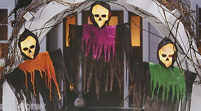 Halloween 3 Piece Lighted Hanging Ghouls 12 Clear Mini Lights Black Wire - Halloween Hanging Ghouls