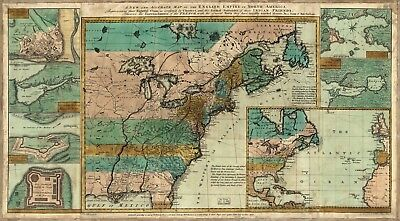 A4 Reprint of North American Map Northern Usa