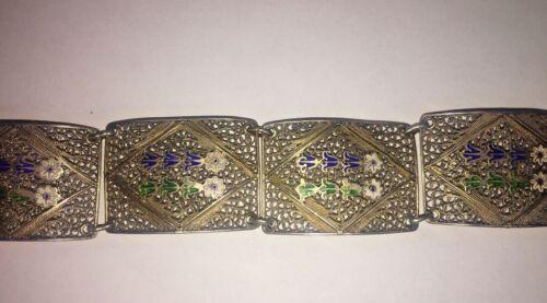 Antique Filigree SILVER Vermeil ENAMEL FLOWER LINKED BRACELET