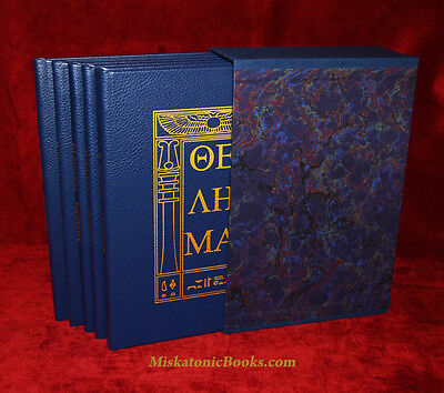 HOLY BOOKS OF THELEMA by Aleister Crowley, 5 volumes Bound in Goat Sapphire Goat