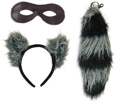 Waschbär Set Kopfschmuck Schwanz Maske Kostümzubehör Karneval Haarreif - Waschbär Kostüm Zubehör