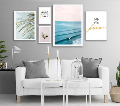 (Ocean Waves Flower Landscape Canvas Poster Nordic Wall Art Print Home Decor)