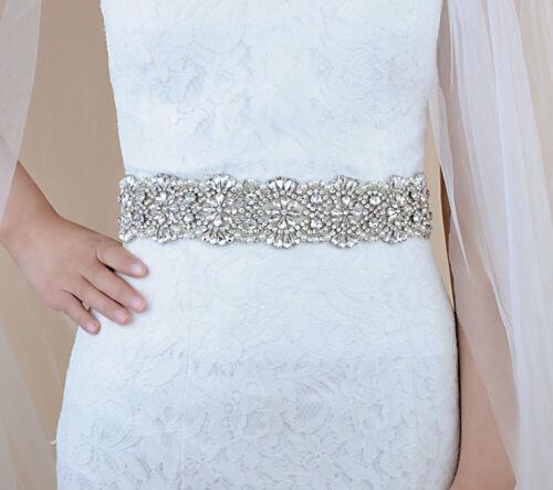 Luxury Rhinestone Sash Belt Bride Wedding Dress Vintage Crystal Bridal Sash US