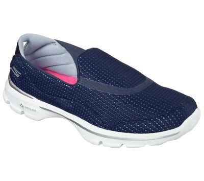 competitive price 8e6be 23586 Dettagli su NUOVE Skechers Scarpe da ginnastica Donna Pantofole Go Walk  3-spiegatura Blu Fitness- mostra il titolo originale