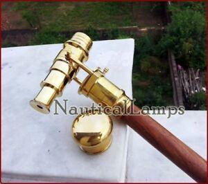 Vintage Folding Telescope Walking Cane Wooden Stick Brass Rosewood Antique Gift