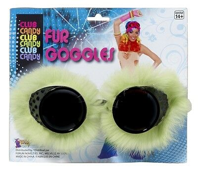Green Furry Goggles, Retro, Forum Novelties - Novelty Goggles
