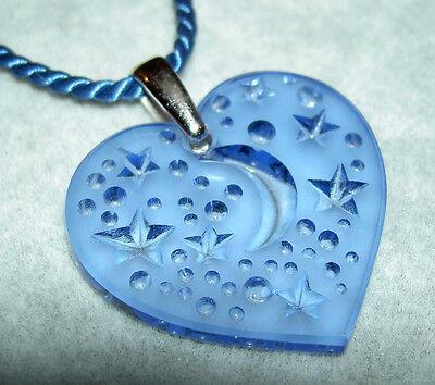 Authentic LALIQUE Sapphire Blue Moon Star Heart Crystal Pendant Necklace w/Box Blue Moon Art Glass Pendant