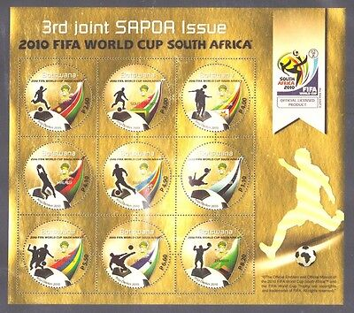 Botswana 2010 SAPOA Joint Issue Soccer World Cup South Africa golden stamp sheet
