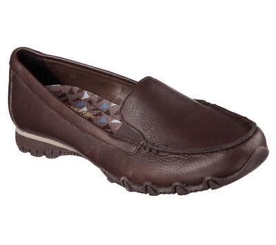 NEW SKECHERS Women Fitness Sneakers Slipper Loafer Leather BIKERS LAMB Chocolate