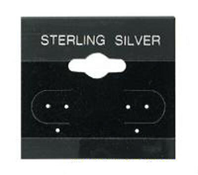 100 Black Sterling Silver Earring Hang Cards 1 12 X 1 12