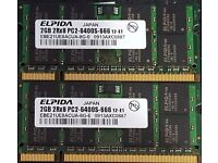 2 x ELPIDA 2GB 2Rx8 PC2-6400S-666 12-E1 Pin Laptop SODIMM