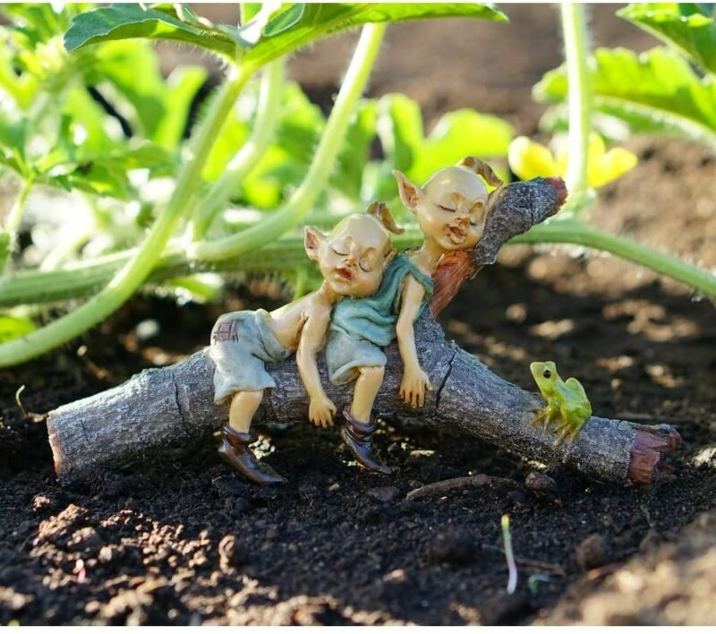 Miniature Fairy Garden Twin Pixies Napping on Tree Log - Buy 3 Save $5