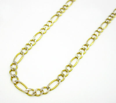 - 10K Yellow Gold Pave Diamond Cut Figaro Chain Necklace & Bracelet 2MM 7