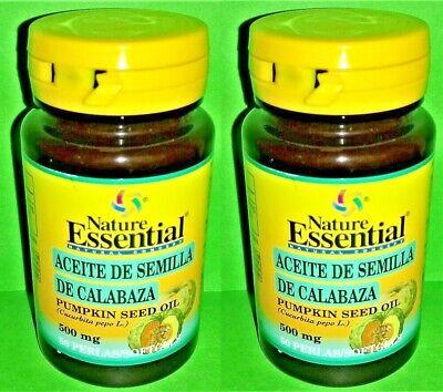 Aceite de semilla de Calabaza 500 mg. 2x50 perlas NATURE ESSENTIAL Prostata