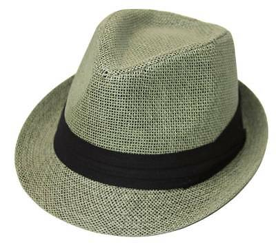 The Hatter Company Straw Tweed Fedora Hat- Green - Party Straw Hats