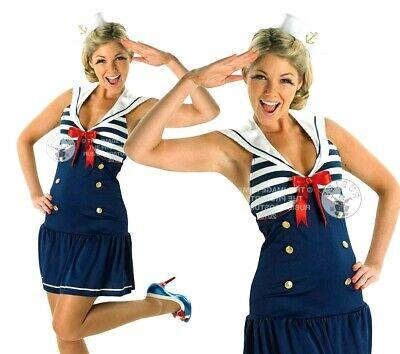 1940s Sailor Costume (Adult SAILOR GIRL 1930s 1940s Uniform Military Fancy Dress Costume Ladies)