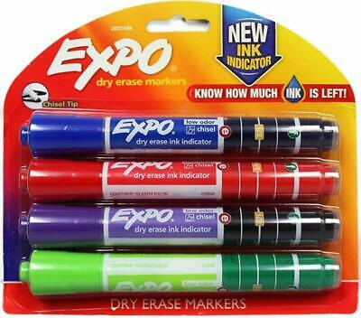 Expo Dry Erase Markers With Ink Indicator Chisel Tip 4 Pack