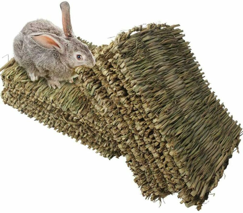 """12 Pack Rabbit Mat for Cages Woven Bunny Grass Bed Nest Chew Toy Bed, 11"""" x 8.3"""""""
