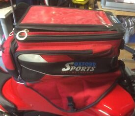 Motorbike Luggage, Red Oxford Sports Panniers and matching Magnetic Tank Bag