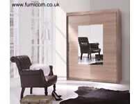 Oslo 2 Door Sliding Wardrobe Bedroom Furniture Mirror Hanging Rail 6 Shelves 161cm Free Delivery