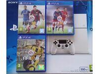 ps4 - 500 GB Glacier White + Fifa17 + Fifa16 + Fifa15