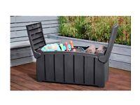 Garden Storage Box for cushions, garden tools - waterproof grey patio store