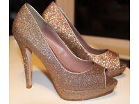 Metallic Gold Platform Peeptoe Stiletto Glitter Shoes from Next 38 UK 5
