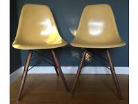4 X Herman Miller Original Vintage Eames Fiberglass DSW Side Chairs - Light Ochre - Delivery London