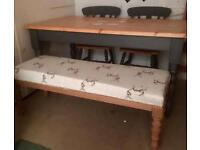 Long stool/kitchen Bench/end of bed Bench,upcycled & reupholstered in stag fabric