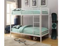 White, bunk bed, metal, bolt less assembly, sturdy, mattress, single.