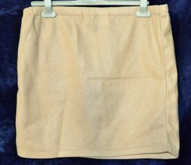 "Claire Neuville UK 22/24 Ladies Light Brown Fleecy Elasticated Skirt W31""-42"" & L16 ½"""