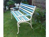 Lovingly Restored Garden Bench * Blue & White * Classic Style