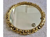 VINTAGE GOLD MIRROR, PLASTER FRAME GILDED GOLD PAINT, ROUND, WALL MIRROR, SHABBY CHIC, UPCYCLE