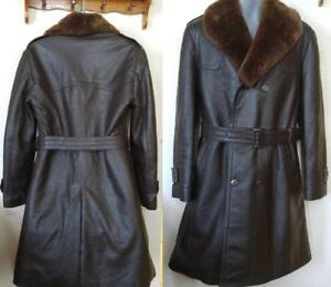 Mens 40 42 M L EXTRA-WARM Long Leather Trench Coat Sheepskin Shearling Lining and Collar Detachable Retro Canada Winter