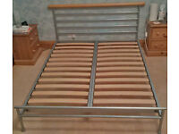 King Size Bed Frame - Painted stainless steel with wooden slats